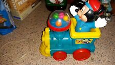 Vintage Disney Mickey Mouse Poppin' Sounds Train Pull Toy Nice Condition WORKS