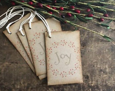 Christmas Gift Tags, Distressed, Rustic, Primitive, JOY, set of 12