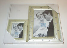"Bling Picture Frame Set Crystal Accents Shiny 4""x6"" and 2.5"" x 3.5"" New Photos"