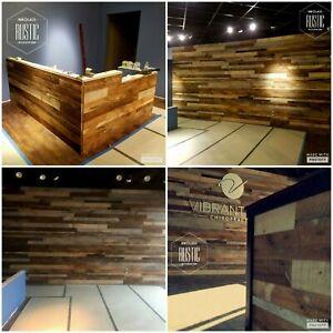 Rclaimed Barnwood oak craft wood plank flooring wall covering diy floating shelf