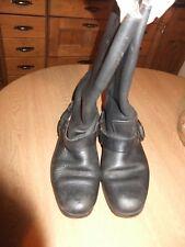 vtge 90s black leather biker boots sz 5