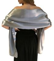 Silver Satin Shawl Stole Pashmina Scarf Bridal Wedding Wrap Bridesmaids SM LXL