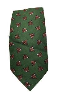 Polo Ralph Lauren Green Wool Tie All Over Dog Print