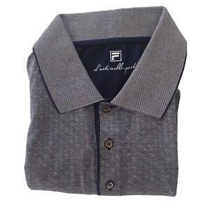 Fila Men's Geometric Pattern Shirt Gray Blue Long Sleeve 100% Mercerized Cotton