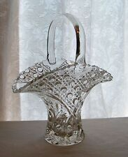 Vintage Clear Lead Crystal Cut Glass Basket Vase Floral Diamond Button Patterns
