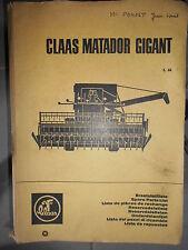 Claas moissonneuse MATADOR GIGANT : ersatzteilliste