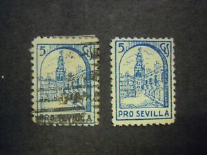 SPANISH CIVIL WAR - SEVILLE - PRO SEVILLE 5c BLUE.