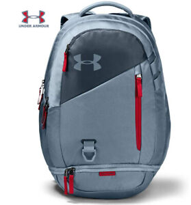 Under Armour UA Hustle 4.0 Backpack Ash Gray / Red Bag Laptop School 1342651-013