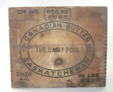 Vintage Canadian Butter Saskatchewan Wooden Crate Dairy Pool Rustic Farm Decor