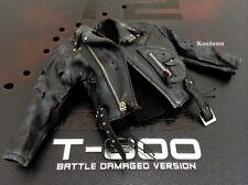 Hot Toys DX13 Terminator 2 T800 Battle Damaged 1/6 Black Jacket Bullet Holes NEW