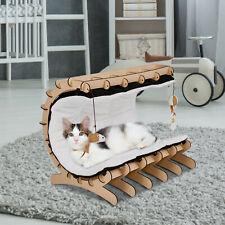 Wooden Pet Cat Plush Bed Hammock Home Warm Nest with Soft Mat Pad Cushion Toys