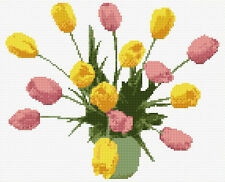 "Pink & Yellow Tulips in Vase - Flower Cross Stitch Kit 10"" x 8"" - 14 Count Aida"