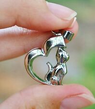 Cremation Jewelry Pendant Urn for Ashes Silver Cat Heart Memorial Gift Kitty USA