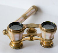 OLD ANTIQUE OPERA THEATER GLASSES BINOCULARS BRASS MOTHER of PEARL marked Europe