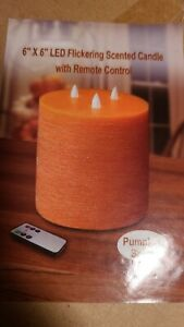 """Large 6"""" x 6"""" LED Flickering scented candle with remote control pumpkin spice"""