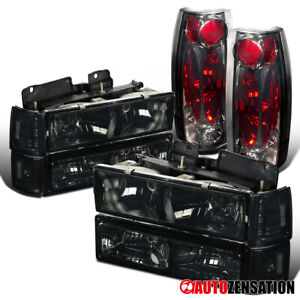 For 94-98 GMC Sierra C10 Yukon Smoke Headlights+Bumper Corner Lamps+Tail Lights