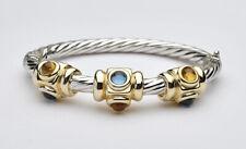 Italian 14k Gold Bangle Bracelet w / Blue / Golden Topaz Cabochon gemstones