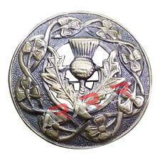 "Thistle Design Kilt Fly Plaid Piper Brooch High Quality Antique Finish 3"" (7cm)"