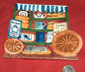 1995 Cardinal CUTE! Ceramic Hand Painted Baker Coffee Food Cart w/ Dog Soap Dish