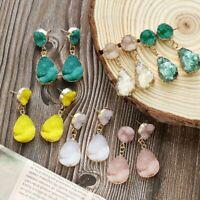 Fashion Women Crystal Earrings Natural Stone Quartz Gold Plated Drop Dangle New