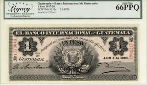 Guatemala Banco Internacional 1 Peso Banknote 1920 GEM CU
