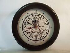 "12"" Quartz Wall clock Metal Frame Glass Lens Guinness Extra Stout Advertising"