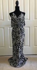 T Bags Los Angels Knot Front Draped Maxi Dress Black and White Size XS