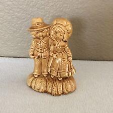 "Vintage Boy & Girl Ceramic Pottery 5"" Figurine Thanksgiving Pilgrims"