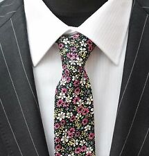 Tie Neck tie with Handkerchief Slim Black Pink White Floral Quality Cotton MTA20
