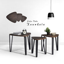 Set*3 Nested Coffee Wood Desk Mental MDF Industrial End Side Table Night Stand