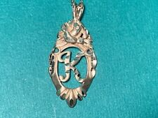 "Ladies 925 Sterling Silver Initial ""K"" Pendant Necklace"