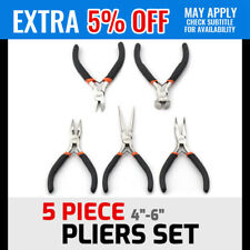 """5 Piece 4"""" 5"""" 6"""" Pliers Set Round Bent Long Nose Diagonal End Cutting Nippers"""