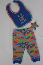 NEW Baby Boys 2 pc Outfit 0 - 3 Months Bib Pants Set Blue Camouflage Hunt Camo