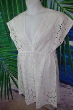 Jordan Taylor NEW White Cotton Eyelet Swimsuit Beach Pool Coverup Plus 1x 14/16w