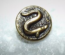"Unusual Small Old Brass Picture Button ""EEL"" #628"