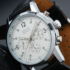 ESS New Men Black Leather Strap White Dial Luxury Automatic Man Wrist Watch