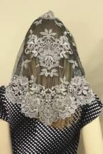 Silver Black Spanish style veils and mantilla Catholic chapel lace - large