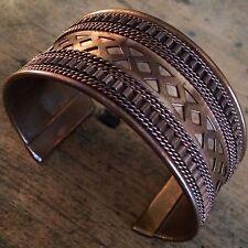 "Vintage 1 1/2"" Copper Metal Open Cuff Bracelet Geometric Braid Designs Unisex"