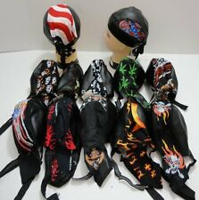 Lot (6) Faux Leather Doo Rags Tie Down Skull Caps Men Women Biker New!