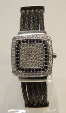 Victoria Wieck Covered Steel Cable Watch Wristwatch Bracelet Crystal Black Silve