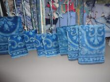 VINTAGE LADY PEPPERELL BLUE JACQUARD SCROLL (8PC) SET BATH, HAND TOWELS, WASH
