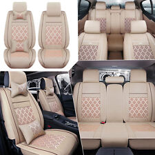 US 5-Seat PU Leather+Comfort Mesh Seat Covers Beige Front+Rear w/4pc Pillows Kit