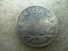 France : CHARLES X : écu de 5 Francs 1827 W