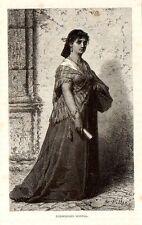 Stampa antica Ragazza di ROMA con abito tradizionale 1876 Old print Engraving