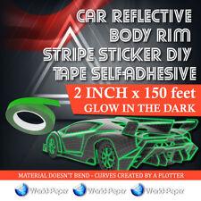 Car Reflective Body Rim Stripe Sticker DIY Glow In The Dark 2 inch x 150 feet