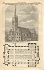 Yale College Memorial Chapel, Connecticut, Vintage 1867 Antique Art Print