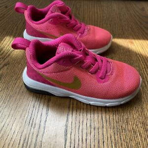 Nike Air Max Motion Sneakers Baby Girls Size 8C Pink Gold White 917657 Slip On