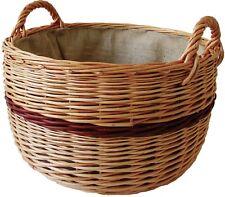 Kaminholzkorb aus geschälter Weide, Runder Holzkorb mit Jute-Auskleidung, braun