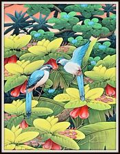 """Original Balinese Painting """"Bluebirds Together"""" (15.5"""" H x 11.5"""" W) Signed"""
