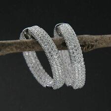 4.80Ct Round Cut Diamond Women's Jewelry Hoop Earrings 14k White Gold Finish